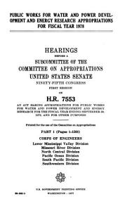 Public Works for Water and Power Development and Energy Research Appropriations for Fiscal Year 1978 PDF
