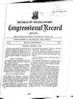 Republic of the Philippines Congressional Record PDF