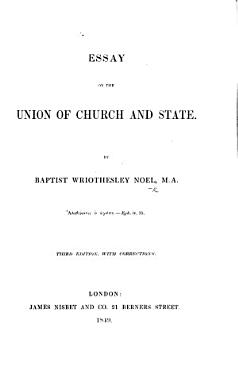 Essay on the Union of Church and State     Third edition  with corrections PDF