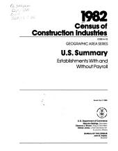 1982 Census of Construction Industries: Geographic area series. 10 pts