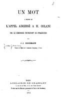 Un mot    propos de l appel adress      M  Colani par le s  minaire protestant de Strasbourg PDF