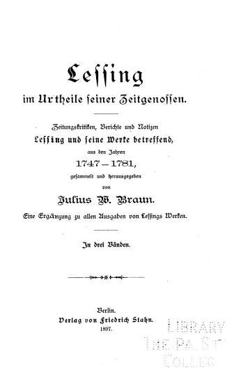 Lessing im urtheile seiner zeitgenossen PDF