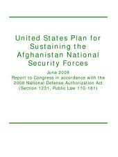United States Plan for Sustaining the Afghanistan National Security Forces