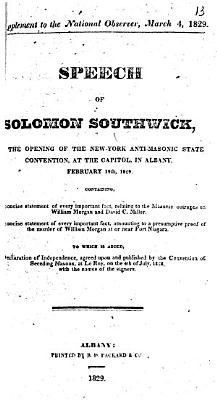 Speech of Solomon Southwick  at the Opening of the New York Anti masonic State Convention PDF