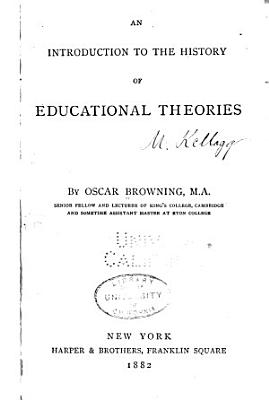An Introduction to the History of Educational Theories PDF