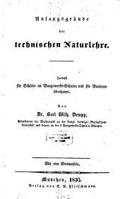 Anfangsgründe der technischen Naturlehre: Mit vier Steintafeln