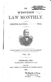 The Western Law Monthly: Volume 3