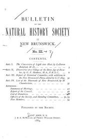 Bulletin of the Natural History Society of New Brunswick: Volume 3; Volume 7