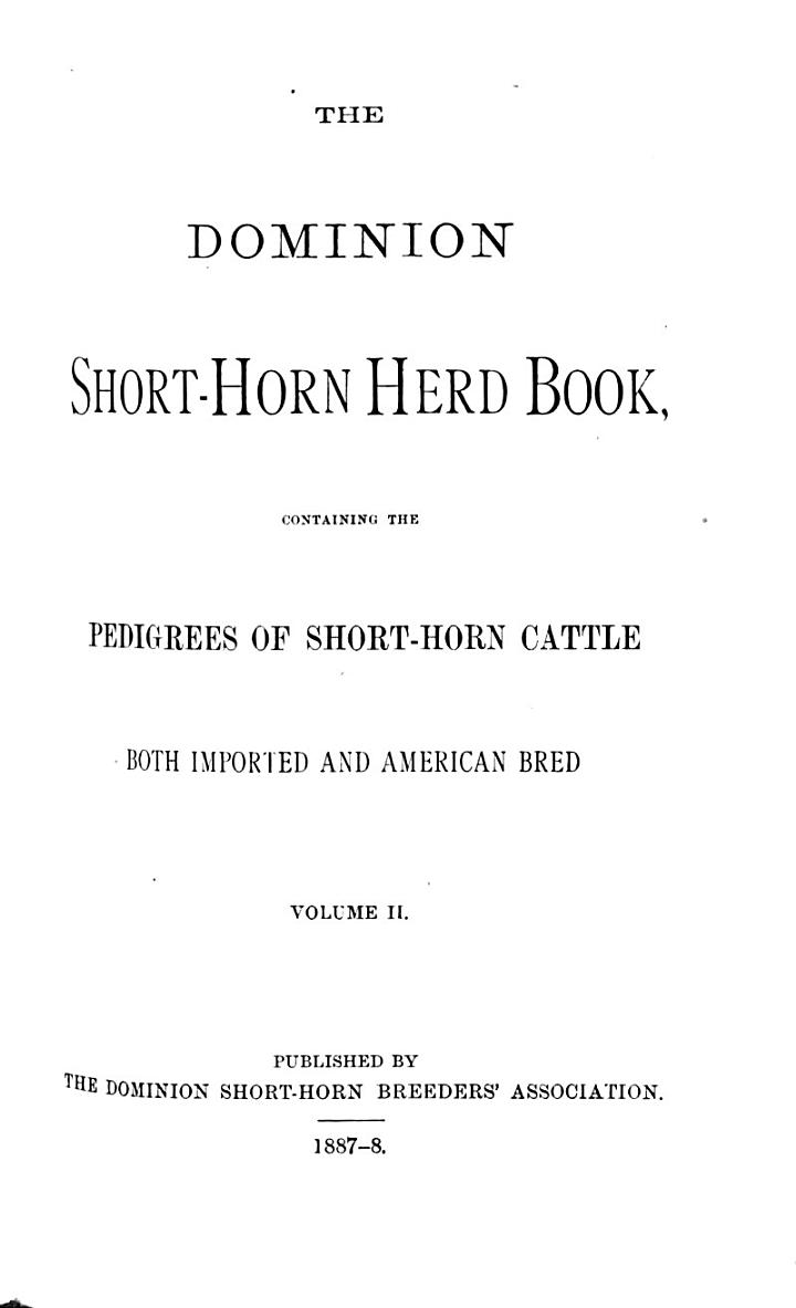 The Dominion Shorthorn Herd Book