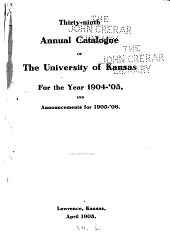 Annual Catalogue of the University of Kansas