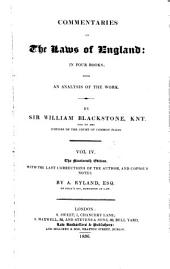 Commentaries on the Laws of England: In Four Books ; with an Analysis of the Work, Volume 3