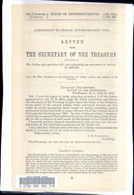 Letter from the Secretary of the Treasury Relative to the Indian Appropriation Bill  and Sbumitting an Amendment to Section of Said Bill