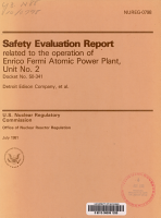 Safety Evaluation Report Related to the Operation of Enrico Fermi Atomic Power Plant  Unit No  2 PDF