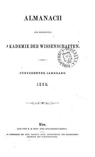 Almanach der kaiserlichen Akademie der Wissenschaften f  r das Jahr     PDF
