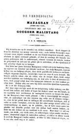 De verdediging van Mazagran, Februarij 1840, vergeleken met die van Goegoer Malintang, Februarij 1841. (De opstand van Batipo in 1841.]