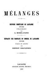 Mélanges: Histoire monétaire de Lausanne, 1273-1354