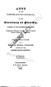 Acts of the Governor and Legislative Council of the Territory of Florida