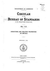 Structure and Related Properties of Metals: September 7, 1921 ...