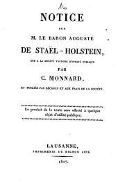 Notice sur M. le baron Auguste de Staël-Holstein: lue à la Société vaudoise d'utilité publique