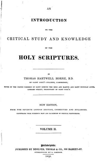 An Introduction to the Critical Study of the Holy Scriptures PDF