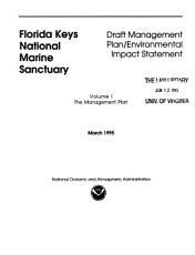 Florida Keys National Marine Sanctuary  The management plan PDF