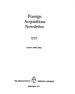 Foreign acquisitions newsletter