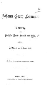 J. G. Hamann. Vortrag