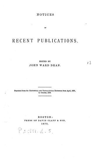 Notices of recent publications  ed  by J W  Dean PDF