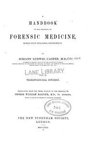 A Handbook of the practice of forensic medicine v  2 1862 PDF