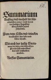 Summarium, Auszug und Inhalt der fürnehmsten Punkte und Lehren übers sechste Kapitel Johannis