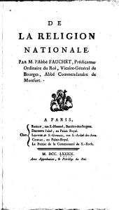 De la religion nationale: Volume 1