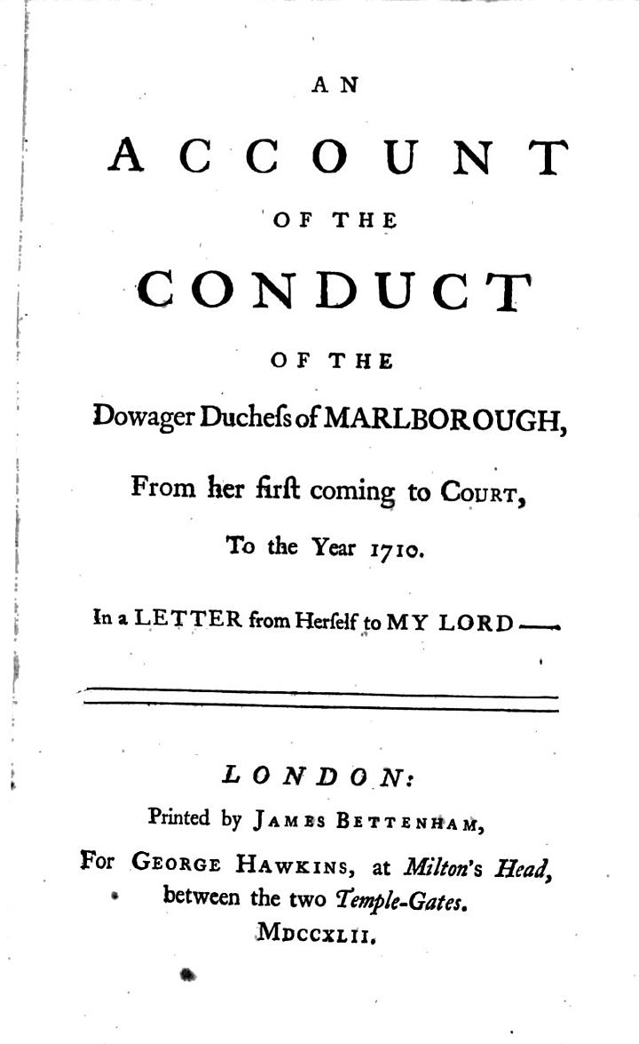 An Account of the Conduct of the Dowager Duchess of Marlborough