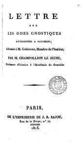 Lettre sur les Odes gnostiques attribuées à Salomon