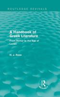 A Handbook of Greek Literature  Routledge Revivals  PDF