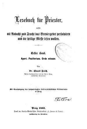 Lesebuch f  r Priester  Bd  Asperi  Psalterium  Ordo missae PDF