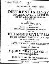 Exercitatio philol. de differentia linguae Graecorum veteris et novae sive barbaro-graecae