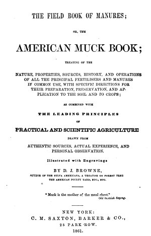 The Field Book of Manures