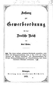 Anhang zur Gewerbeordnung für das Deutsche Reich