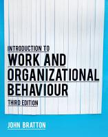 Introduction to Work and Organizational Behaviour PDF