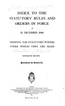 Index to the Statutory Rules and Orders in Force on ...