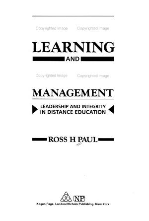 Open Learning and Open Management PDF