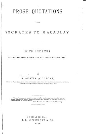 Prose Quotations from Socrates to Macaulay