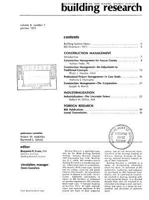 Building Research   Journal of the BRAB Building Research Institute