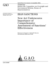 Iran Sanctions: New Act Underscores Importance of Comprehensive Assessment of Sanctions' Effectiveness: Congressional Testimony