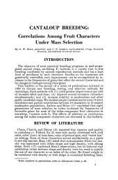 Cantaloup Breeding: Correlations Among Fruit Characters Under Mass Selection, Volumes 1401-1415