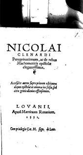 Peregrinationum ac de rebus Machometicis Epistolae ...