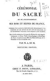 Cérémonial du sacre et du couronnement des rois et reines de France[...]