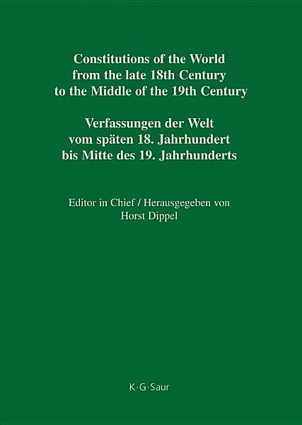 National Constitutions / State Constitutions (Alabama – Frankland) / Nationale Verfassungen / Staatsverfassungen (Alabama – Frankland)