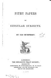Pithy Papers on Singular Subjects