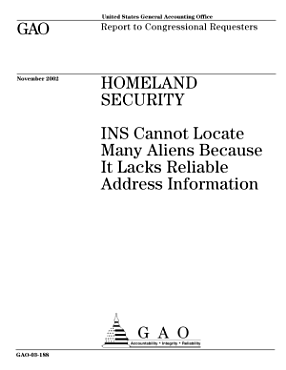 Homeland security INS cannot locate many aliens because it lacks reliable address information  PDF